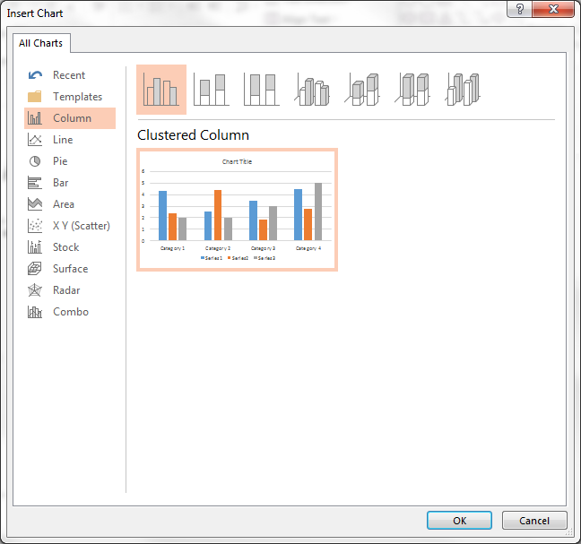 Chart Chooser in PowerPoint 2013