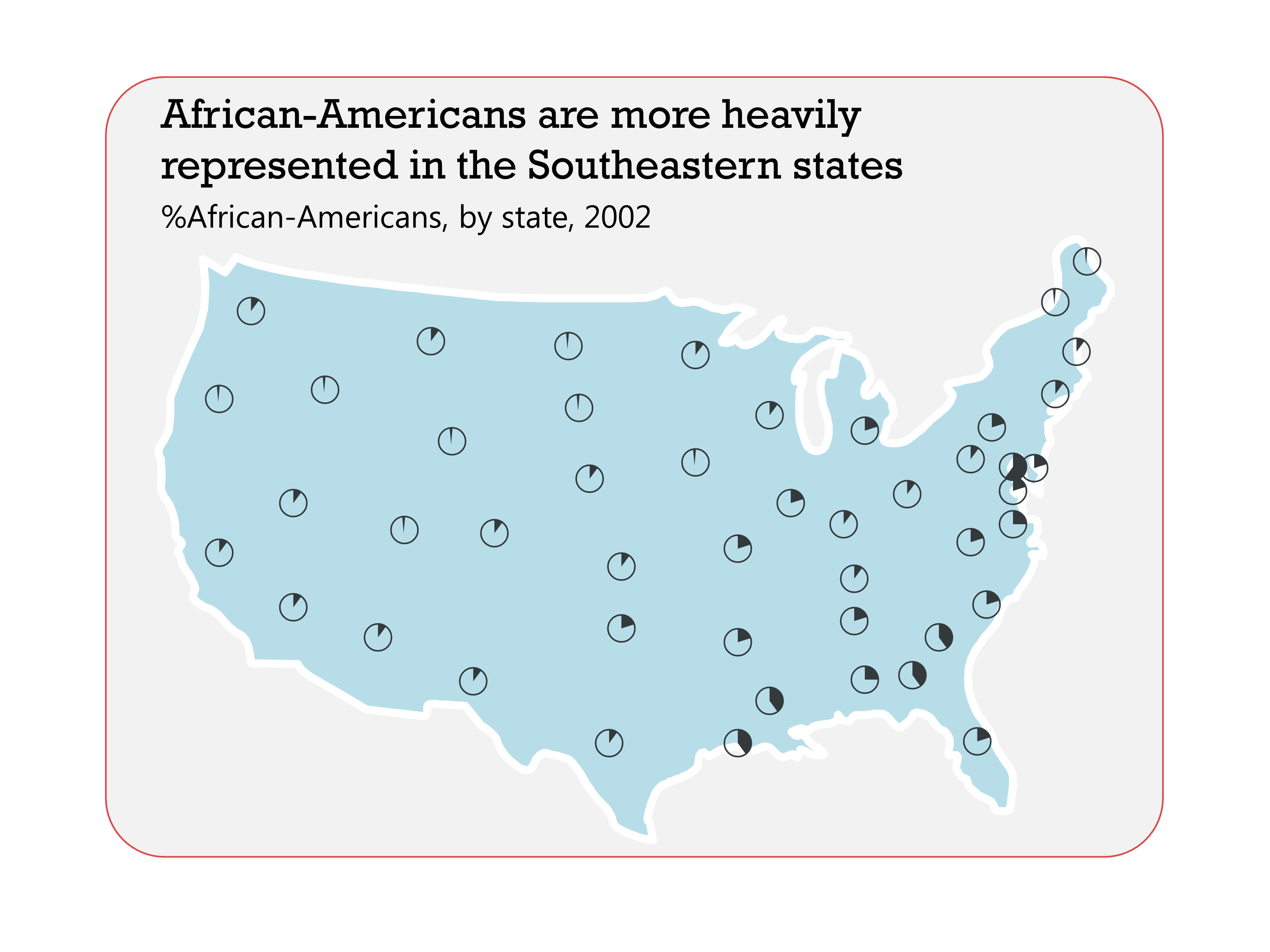 Tiny pie charts showing the percentages of African Americans per state in the US